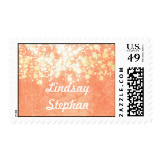 string lights gold and peach vintage wedding postage stamp
