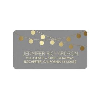 String Lights Gold Foil Wedding Label