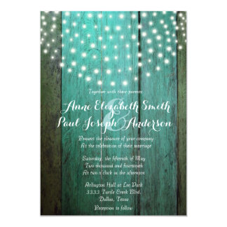 String lights green barn wood wedding invitations