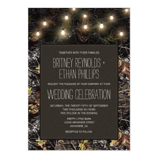 String Lights Hunting Camo Wedding Invitations