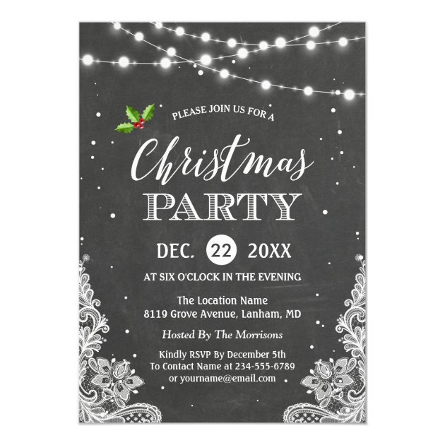 String Lights Lace Chalkboard Christmas Party Card