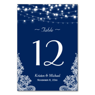 String Lights Lace Navy Blue Wedding Table Number