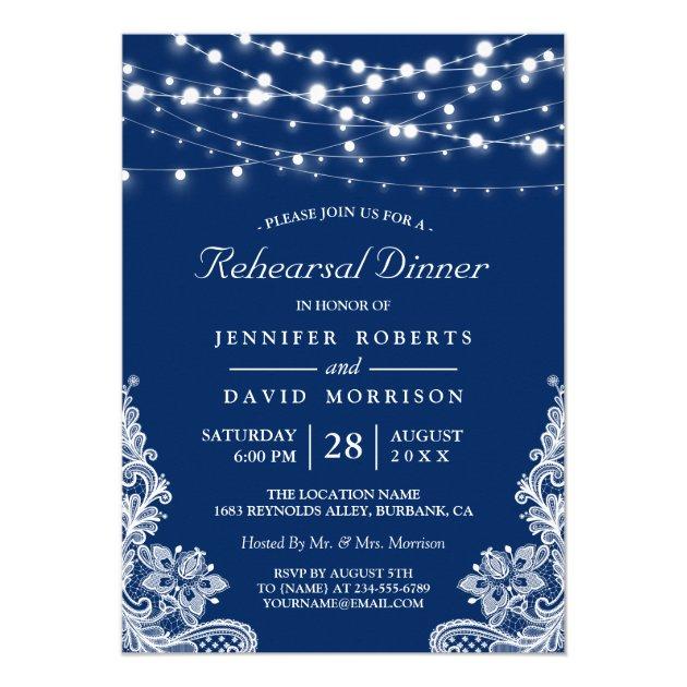 String Lights Lace Navy Wedding Rehearsal Dinner Card