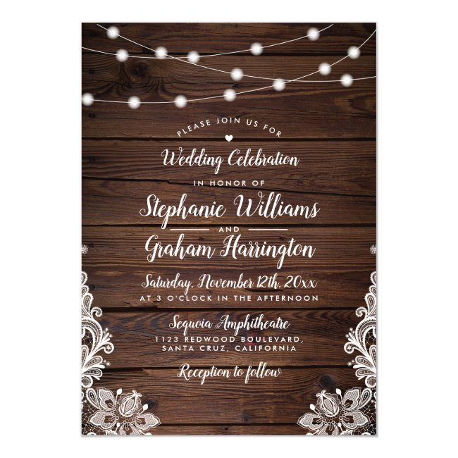 String Lights & Lace | Rustic Country Wedding Magnetic Invitation
