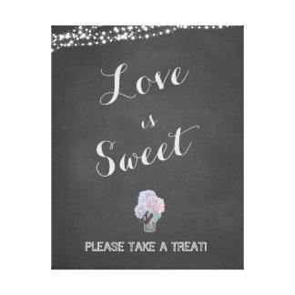 String Lights Mason Jar Chalkboard LOVE is SWEET Canvas Print