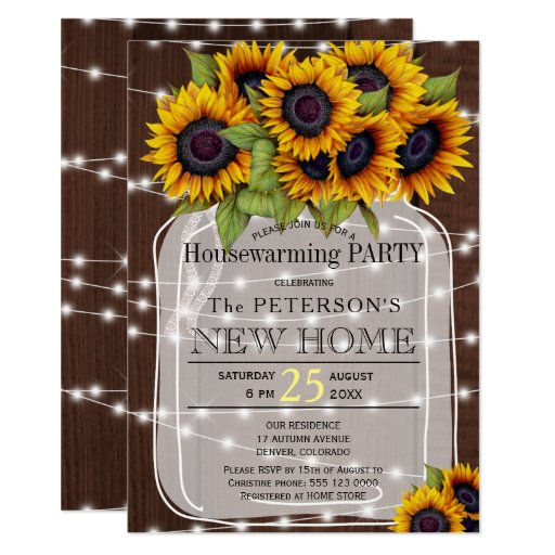 String lights mason jar housewarming party Invitation