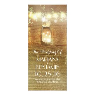 string lights mason jar rustic wedding programs rack card design