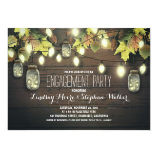 string lights mason jars fall engagement party 5x7 paper invitation card