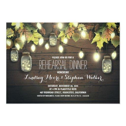 string lights mason jars fall rehearsal dinner 5x7 Paper Invitation Card