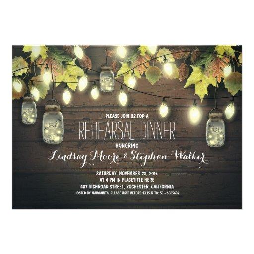 string lights mason jars fall rehearsal dinner custom invitation
