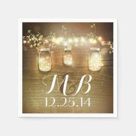 String Lights Mason Jars Rustic Barn Wedding Napkin