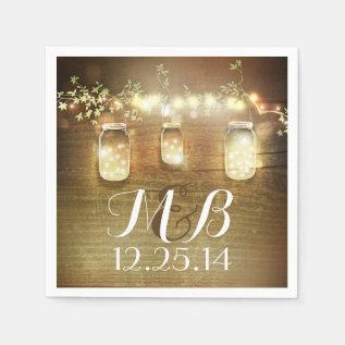 String Lights Mason Jars Rustic Barn Wedding Napkin at Zazzle