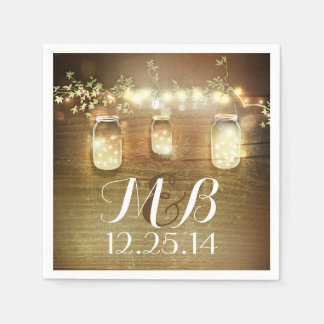 String Lights Mason Jars Rustic Barn Wedding Napkin