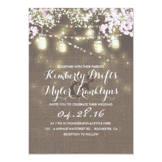 String Lights Mason Jars Rustic Burlap Wedding Card