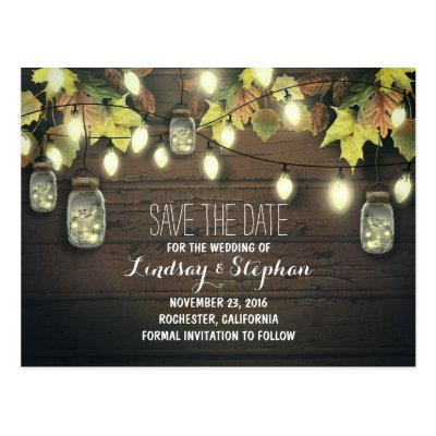 lights & mason jars rustic SAVE THE DATE postcard | Zazzle