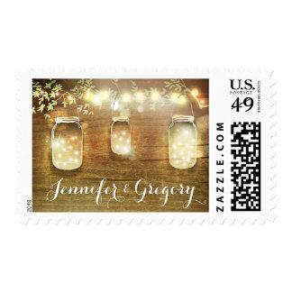 String Lights Mason Jars Rustic Wedding Postage Stamps