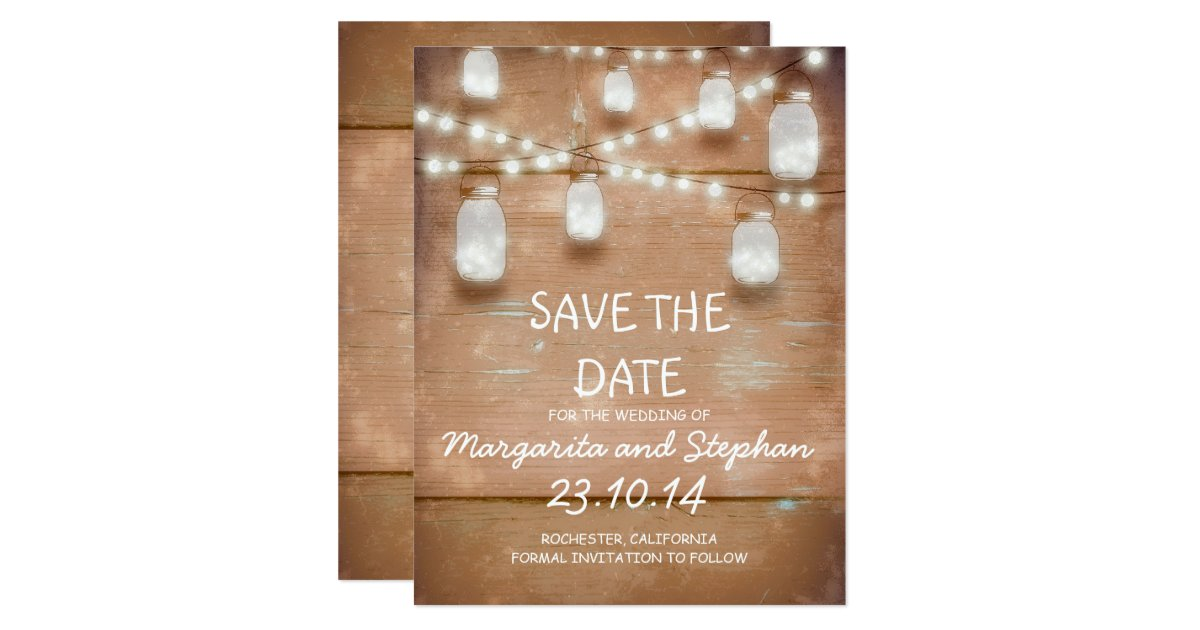String Lights Save The Date : string lights & mason jars save the date cards Zazzle