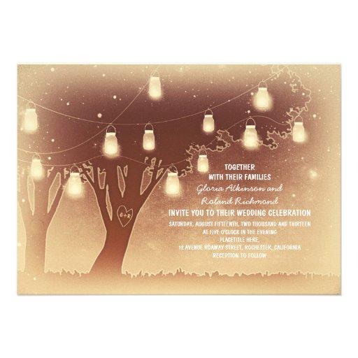String lights mason jars tree rustic wedding 5x7 paper invitation card Zazzle