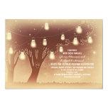 String lights mason jars tree rustic wedding invitation