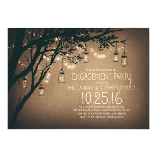 string lights mason jars vintage engagement party 5x7 paper invitation card