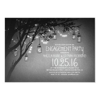 string lights mason jars vintage engagement party card