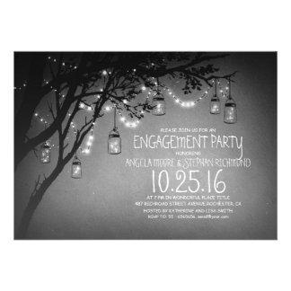 string lights mason jars vintage engagement party personalized invitation