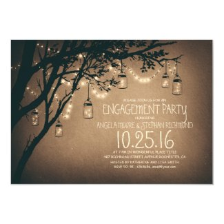 string lights mason jars vintage engagement party invitation