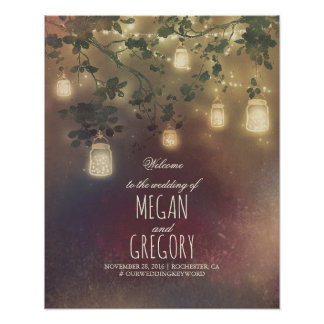 String Lights Mason Jars Wedding Welcome Sign
