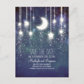 string lights moon stars romantic save the date announcement postcard