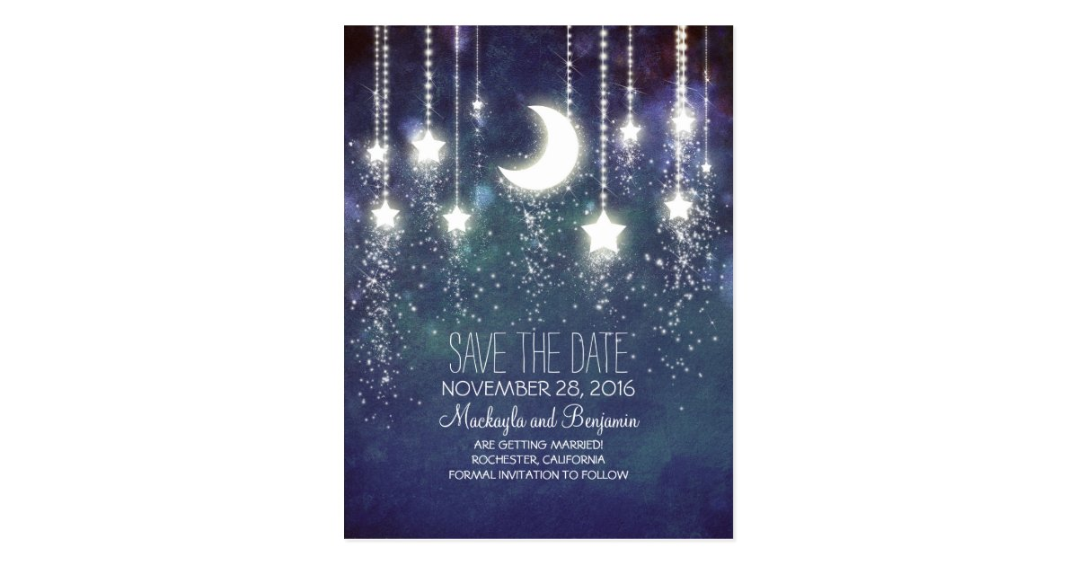 string lights moon stars romantic save the date postcard Zazzle