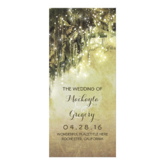 String Lights Moss Tree Branches Wedding Programs