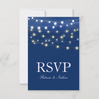 String Lights Navy Wedding RSVP