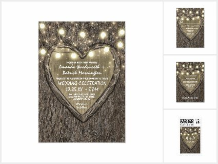 String Lights + Oak Tree Bark Wedding Invitations Set