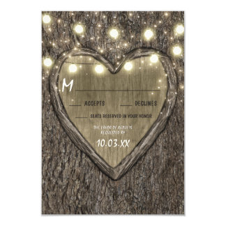 String Lights + Oak Tree Bark Wedding RSVP Cards