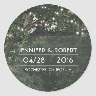 String Lights Oak Tree Branches Rustic Wedding Classic Round Sticker