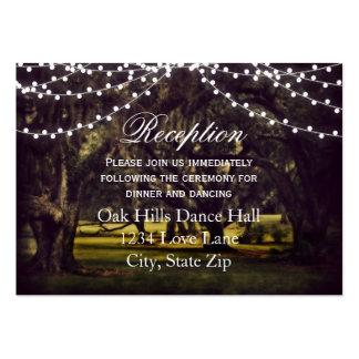 String Lights Oak Tree Wedding Reception Cards