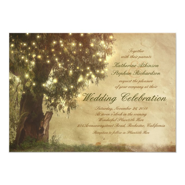 String Lights Tree Rustic Wedding Invitation : String lights old tree rustic wedding invitation Zazzle