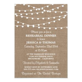 String Lights On Burlap Wedding Rehearsal Dinner Card