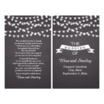 String lights on chalkboard folded wedding program