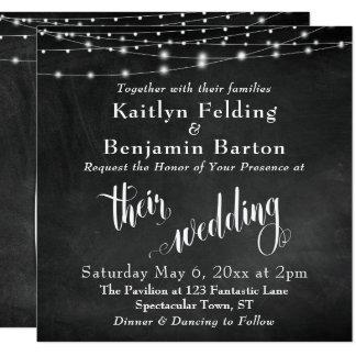 String Lights on Chalkboard Typography Wedding Card