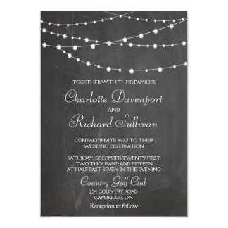 String lights on chalkboard wedding invitation
