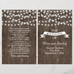 """String lights on old wood folded wedding program<br><div class=""""desc"""">String of lights and vintage banner on old wood summer folded booklet style wedding ceremony and party program featuring a white banner with brown outline on old brown wood background. This modern and trendy wooden wedding design with vintage elements is part of a wedding set or collection, is fully customizable...</div>"""