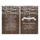 String lights on old wood folded wedding program