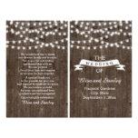 "String lights on old wood folded wedding program 8.5"" x 11"" flyer"