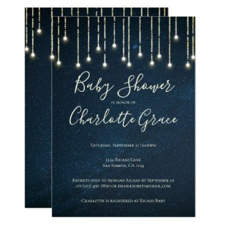 String Lights On Starry Sky Baby Shower (unisex) Invitation