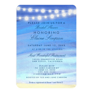 String lights on the water Bridal Shower Personalized Announcement