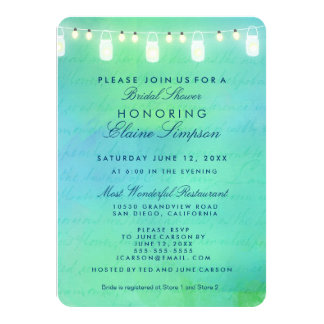String lights on the water Bridal Shower Personalized Invites