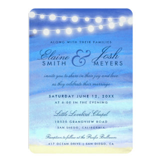 String lights on the water 5x7 paper invitation card