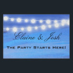"String lights on the water lawn sign<br><div class=""desc"">Two sided sign for destination / ocean wedding reception or special event Beautiful ocean background with light and dark blue water with soft string lights overhead. Reverse side shows ocean waters meeingt the gorgeous tan sandy background. Perfect sign for your destination or beach rehearsal dinner. Easily edit text and fonts...</div>"