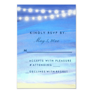 String lights on the water RSVP 3.5x5 Paper Invitation Card